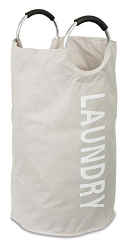 BIRDROCK HOME Round Oxford Laundry Bag - Clothes Storage - Laundry Bin - College Student - Foldable - Cream