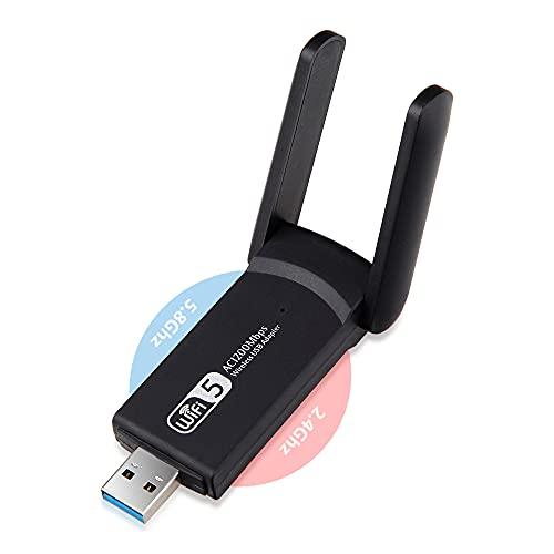 Adaptador WiFi USB para PC, Receptor WiFi Doble Banda 1200Mbps AC 5Ghz / 2.4Ghz Inalámbrico con Antenas de Alta Ganancia 5dBi, USB 3.0, Pincho Dongle Inivech Chipset Realtek RTL8812BU para Windows Mac