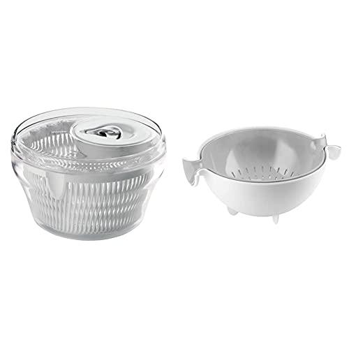 Guzzini Centrifuga Insalata Kitchen Active Design, Trasparente, Ø22 X H14 Cm & Set Scolatutto Con Contenitore Kitchen Active Design, Grigio, 30 X 25 X H12.5 Cm