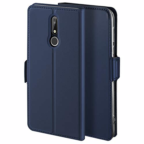 YATWIN Handyhülle für Nokia 7.1 Hülle Leder Premium Tasche Hülle für Nokia 7.1, Schutzhüllen aus Klappetui mit Kreditkartenhaltern, Ständer, Magnetverschluss, Blau