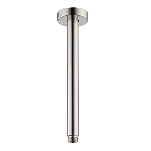8-Inches Ceiling Mount Shower Arm and Flange, Brushed Nickel Straight Shower Arm with Check Valve for Rainfall Shower Head, 1/2 NPT Thread
