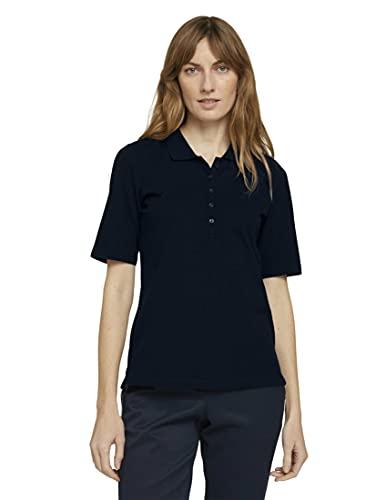 TOM TAILOR Damen 1025252 Basic Polohemd, 10668-Sky Captain Blue, L