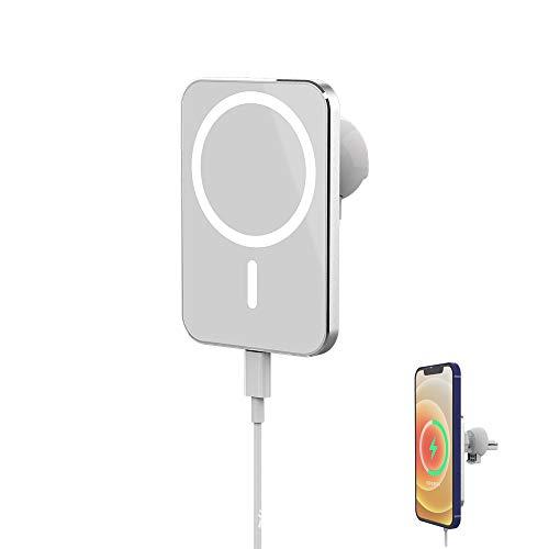 Ousyaah Chargeur Sans Fil de Voiture Magsafe, Support de Ventilation de Voiture, 15W Qi Chargeur rapide Chargeur Sans Fil Magnétique pour Phone12 / 11 / XS, Galaxy S20 / S20 +, Huawei