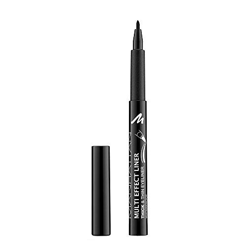 Manhattan Multi Effect Liner, Hochpigmentierter schwarzer Eyeliner für einen dicken und dünnen Lidstrich, Farbe Black 001, 1 x 1ml