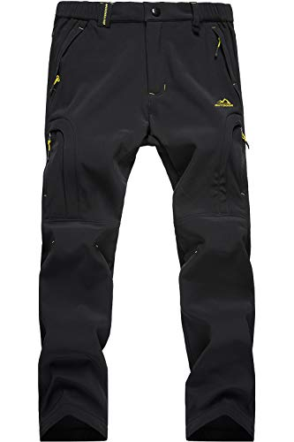TACVASEN Casual Trousers Men Winter Waterproof Trousers Mens Warm Fleece Trousers Camping Walking Trousers Leisure Windproof Pants Black