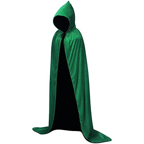 Hooded Cloak Velvet Robe Cape for Halloween Cosplay Costumes, Unisex