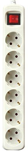 Silver Electronics 9636 Regleta Tomas con Interruptor, Blanco, 6 Enchufes / 1,5 metros