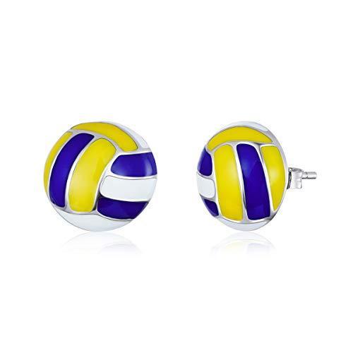 Ohrstecker aus echtem 925er-Sterlingsilber, Sport-Volleyball-Emaille, antiallergene Ohrstecker, Mädchen-Geschenke