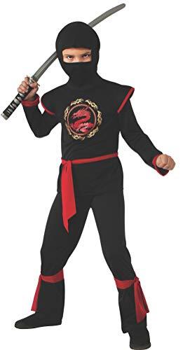 Disfraz de Ninja Dragón para niño, negro y rojo, infantil 5-7 años (Rubie