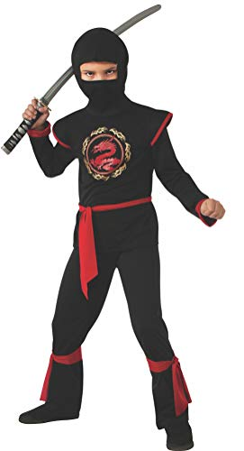 Disfraz de Ninja Dragón para niño, negro y rojo, infantil 8-10 años (Rubie's 887057-L)