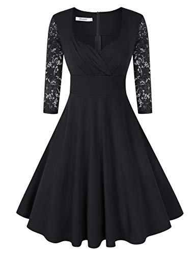 KOJOOIN Damen 50er Vintage Kleid Retro/Cocktailkleid/Abendkleid/Ballkleid Rockabilly V-Ausschnitt Kleid Knielang Langarm Schwarz XL