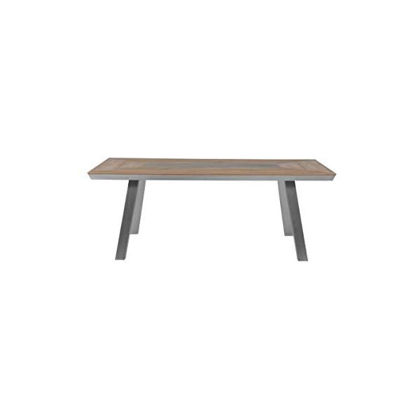 Greemotion 129017 Alu Gartentisch Locarno-Esstisch aus Aluminium mit Tischplatte in Holz Optik-Tisch für Garten…