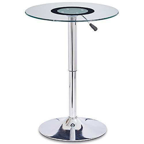 hairong Mesa de bar, superficie de cristal templado, chasis galvanizado, altura ajustable 55-78 cm, barra alta redonda mesa de negociación (tamaño: CMEMNEHA)
