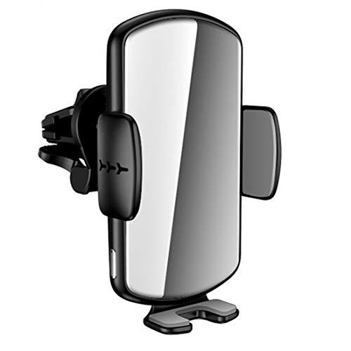 Wsaman Cargador Inalámbrico Coche, Carga Rápida inalámbrico Soporte Móvil para iPhone Samsung y Android Cargador Inalámbrico,Mirror+Silver