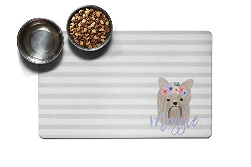 The Navy Knot Personalized Large Pet Mat | Two Sizes | Dog Placemat | Dog Food Mat | Pet Placemat | Pet Food Mat | Personalized Pet Placemat | Fabric Placemat (10 x 16, Floral Dog - Yorkie)
