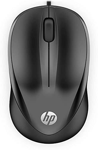 HP - PC Wired Mouse 1000 Cablato, Sensore Preciso, 1200 DPI, 3 Pulsanti, Rotella Scorrimento, Cavo USB 1.5 m, Design Pratico e Versatile, Ambidestro, Nero