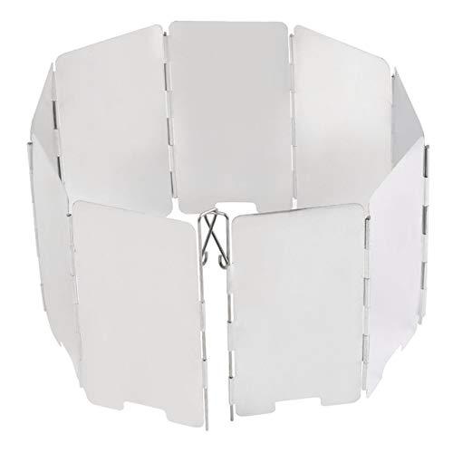 Zerodis 10 unids Placas Plegable Al Aire Libre Cocina de Camping Pantalla de Viento Estufa de Gas Parabrisas Pantalla de Viento de Aleaci/ón De Aluminio Estufa de Campamento para Acampar al Aire Libre