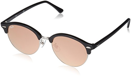 Ray-Ban Clubround Non-Polarized Iridium Round Sunglasses, TOP Wrinkled Black ON BL, 53.0 mm
