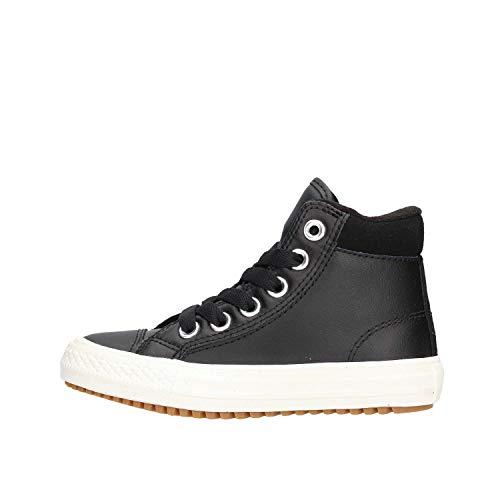 Converse Girl's Chuck Taylor All Star High Top Boot Sneaker, Black/Burnt Caramel/Black, 1 M US Little Kid