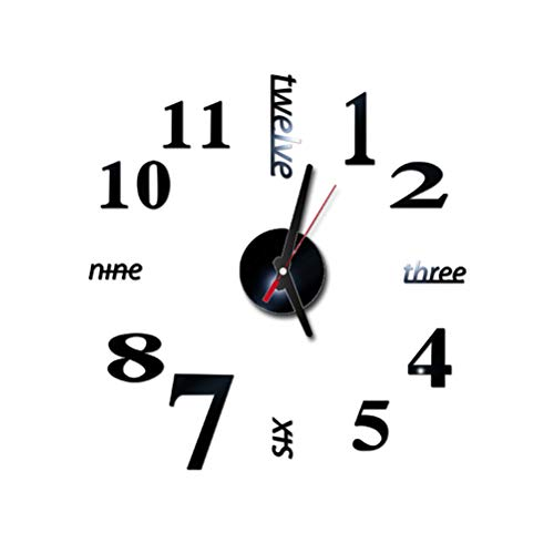 LIOOBO Número Etiqueta de la Pared Reloj 3D Acrílico Reloj de Pared Reloj de Espejo Decoraciones de Oficina en casa Negro