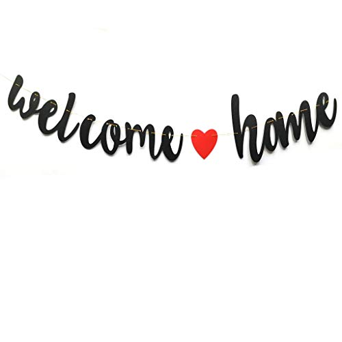 Welcome Home Black Glitter Banner for Housewarming Patriotic Military Decoration Family Party Supplies Bunting Photo Booth Props Sign Pre-Strung