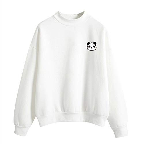 Andouy Damen Schön Muster Drucken Oberteile Lässige Lange Ärmel Sweatshirt KapuzePullover(XL(44).Weiß-Panda)