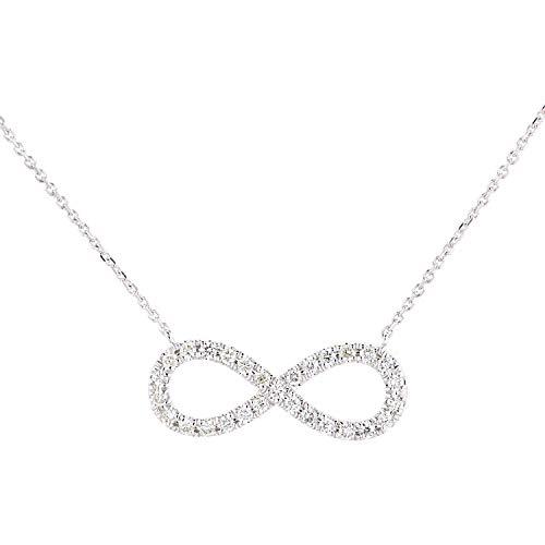 Naava Women 9ct (375) White Diamond Pendant Necklace of Length 46cm PNE20032W