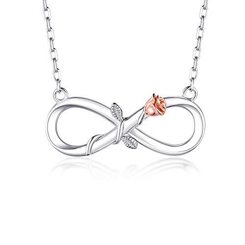 BlingGem Damen Kette Infinity aus Weißgold vergoldet 925 Sterling Silber Rose Unendlichkeit Halsketten Frauen Blume Anhänger Silberkette Einstellbar Geschenk 48 cm