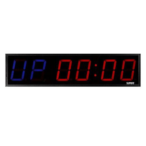 Suprfit Tilrun 6 Intervall Timer - Sporttimer mit 6 Ziffernfeldern, Fitness Timer mit LED Display und 5 Modi, 12 Speicherplätze, inkl. Fernbedienung, Signalton, zur Wandmontage geeignet