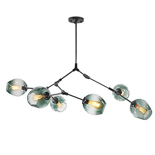 Lustre boule de verre Spoutnik, suspension à 6 branches, rustique, lustre en étoile à hauteur réglable E26, lustre noir mat à soufflage à la main bleu à 6 lumières