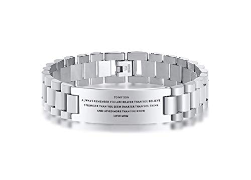 Stainless Steel To My Son Love Mom Courage Inpsirational Wristband Bracelets, Mother to son gift, Birthday Gifts to Son