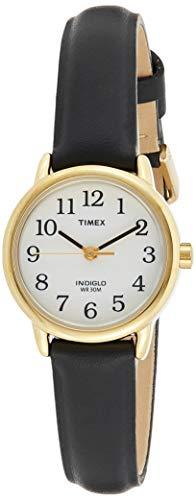 Timex Damarmbandsur vit analog läder bandet Svart/guld