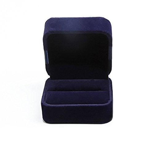 Toruiwa Ecrin Boîte de Bague Boîte à Bijoux Boîte de Boucle d'Oreille en Velours Cadeau pour Mariage/Saint-Valentin (Bleu Foncé)