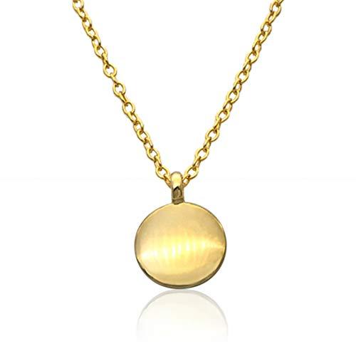 WILD SUN Kette mit Plättchen Anhänger Gold Damen | Filigrane Goldene Coin Halskette für Frauen | Hochwertige Schlichte Goldkette aus 925 Sterling Silber mit 18K vergoldet