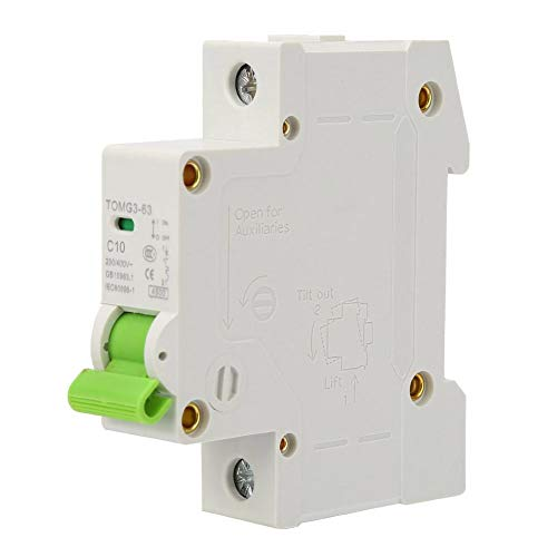YWBL-WH TOMG3-63 1P C-type Miniature Circuit Breaker Leakage Protection 230V/400V AC Air Switch(10A)