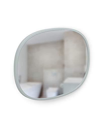 Umbra Hub - Specchio ovale da parete, 40 x 50 cm, con cornice protettiva in gomma