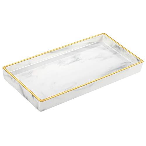 Luxspire Schmuck Tablett mit Gold Rand, Badezimmertablett aus Hitzebeständig Keramik, Küchen Platte Schmuckaufbewahrung Organizer für Seifenspender Gewebe Kerzen Parfüm Kosmetiktablett, Marmor Weiß