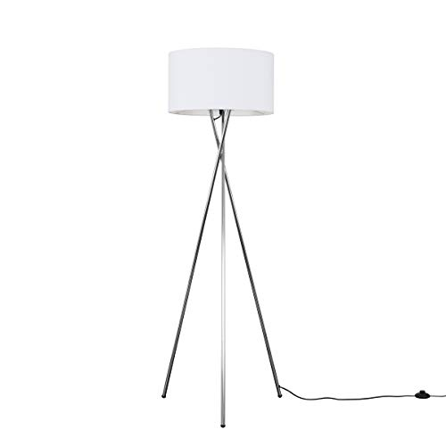 Modern Polished Chrome Metal Tripod Floor Lamp with a White Cylinder Shade