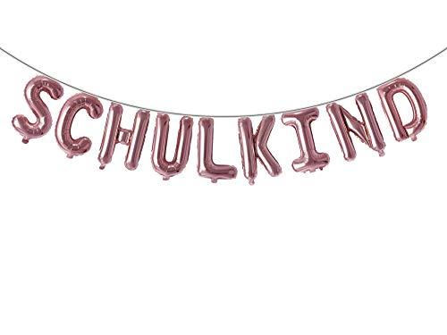Trendario Schulkind Folien Luftballon Girlande Banner - Rosé Gold - Hänge Deko für Schuleinführung Einschulung Schulanfang Schulstart Dekoration Schule Für Mädchen & Jungen