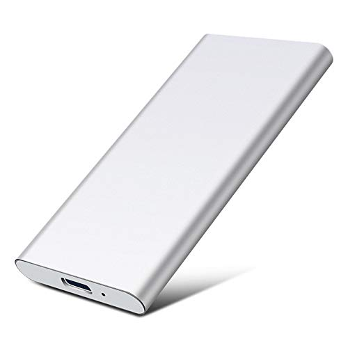 Disco Duro 2 TB Externo USB3.1 Type-c HDD para PC, Xbox One, Desktop, Laptop, Chromebook.(2TB,Plata)