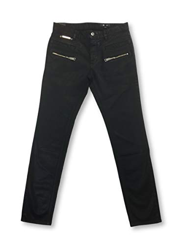 Just Cavalli Black Coated Cotton Jeans with zips W36