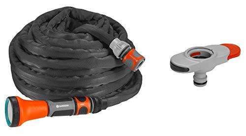Gardena Textil-Schlauch Liano 10m Set inkl. Indoor Adapter, schwarz,orange,grau