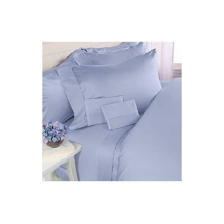 Queen Size Blue Solid Bed Sheet Set 1000 TC 100 Percent Egyptian Cotton