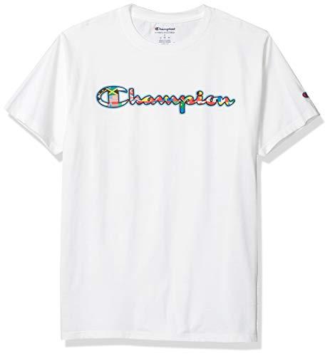 Champion Herren Classic Tee T-Shirt, Weiß-Multi Flag Script, Klein