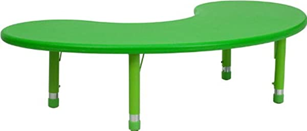 Flash Furniture 35 W X 65 L Half Moon Green Plastic Height Adjustable Activity Table
