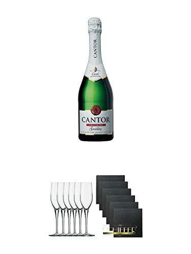 Cantor alkoholfreier Sekt 0,75 Liter + Stölzle Exquisit Sektkelch 6er Pack + Schiefer Glasuntersetzer eckig 6 x ca. 9,5 cm Durchmesser