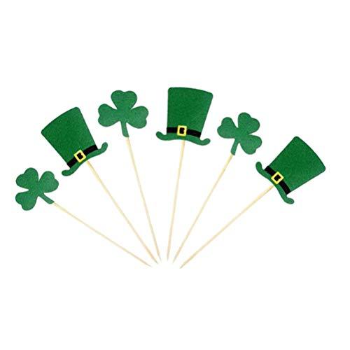 TOYANDONA 20 Stücke St. Patricks Day Kuchen Topper Hut und Kleeblatt Kuchendeckel Tortenstecker Kuchendeko für Irisches Party Deko