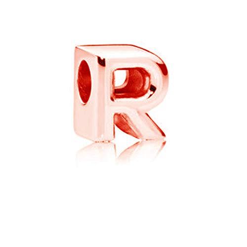 Abalorios de plata de ley 925 con letras de letra R, dije de aniversario con letra Z, para pulsera Pandora (R)