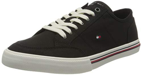 Tommy Hilfiger Core Corporate Textile Sneaker, Zapatillas Hombre, Negro (Black), 42 EU