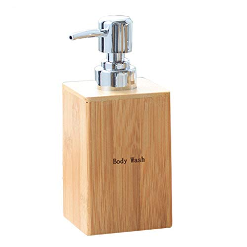 Zaza Dispensador de loción, Bambú Natural Alimentador del jabón líquido, champú, Gel de baño, jabón líquido, de Gran Capacidad Recargable del de baño Cocina Bomba de Ducha (Color : Body Wash)